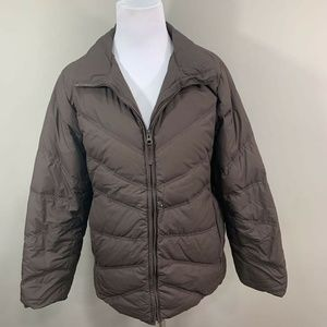 L.L.Bean Womens Puffer Jacket Brown Quilted Down F